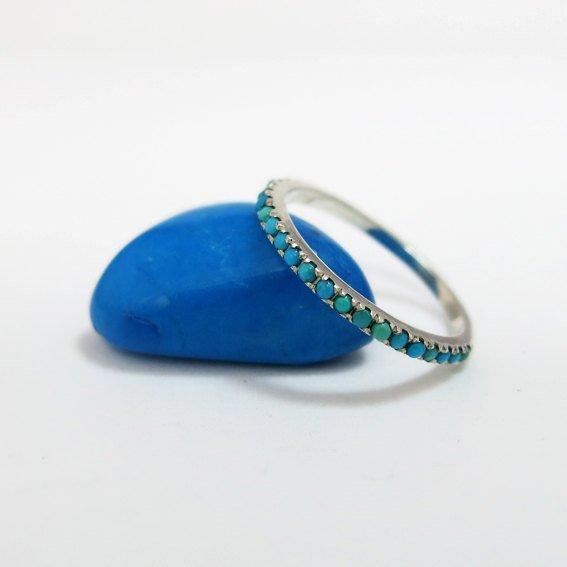 زفاف - Silver Turquoise Ring, Blue Anniversary Ring, Eternity Ring, Bride Ring, Stacking Ring, December Ring, Teal Ring, Turquoise Eternity Ring