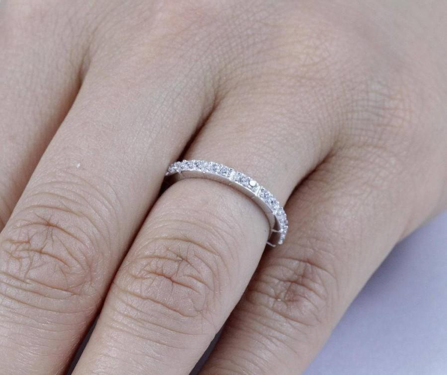 زفاف - 925 Sterling Silver Half Eternity CZ Women's Wedding Band Ring Size 3-14 SS3894