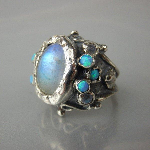 Wedding - Oval Rainbow Moonstone Opal Queen Ring Sterling Silver Ring Big Statement Ring Size 4-11 affordable Engagement Ring