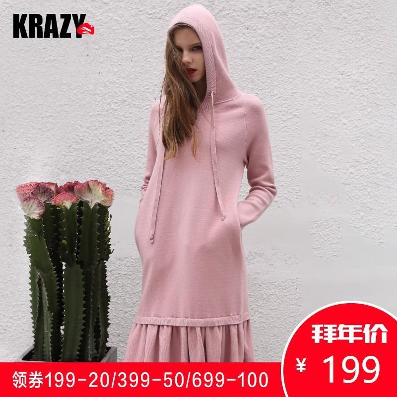 Wedding - Sweet Pleated Trail Dress Jersey Soft Casual Hoodie Hat Dress Sweater - Bonny YZOZO Boutique Store