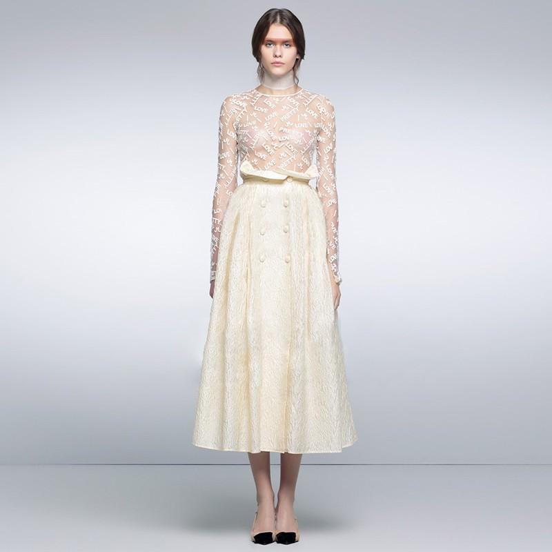 Hochzeit - 2017 autumn temperament long sleeve lace blouse women   new women's high waist skirt fashion suits - Bonny YZOZO Boutique Store