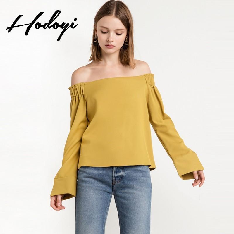 Свадьба - Vogue Split Bateau Off-the-Shoulder One Color Summer 9/10 Sleeves Blouse - Bonny YZOZO Boutique Store
