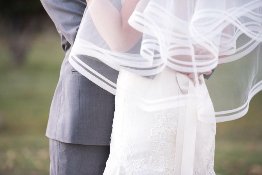 Свадьба - Double Horsehair Edge Wedding Drop Veil, Bridal Veil 2HH