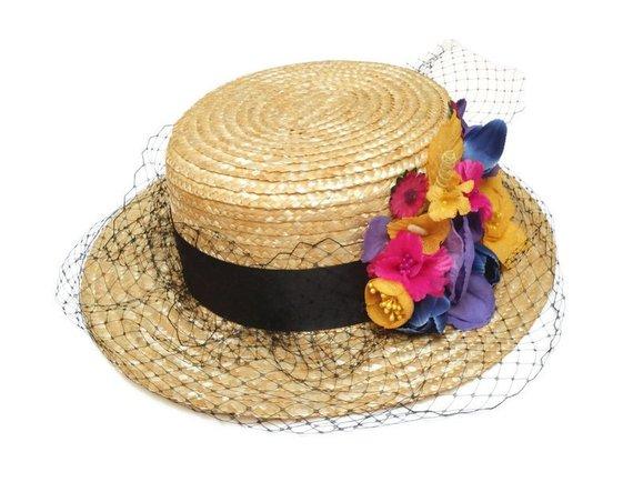 Свадьба - Boater hat. Straw hat. Flower boater hat. Raffia hat. Spring hat. Summer hat. Wedding hat. Bridal hat. Flower fascinator. Tea party hat.