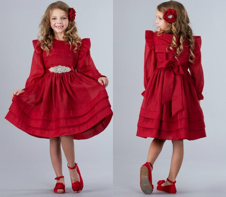 Свадьба - Red Christmas Dress, Red Flower girl dress,Flower girl dresses, Girls Holiday dress, Party dress, baby Christmas dress, Red valentines dress