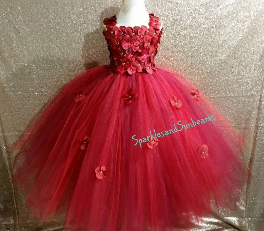 Свадьба - Red&Wine hydrangea dress/Burgundy Flower girl dress (FULL LINING,Aqua,white,ivory,burgundy,royal blue,lavender,yellow many colors available)