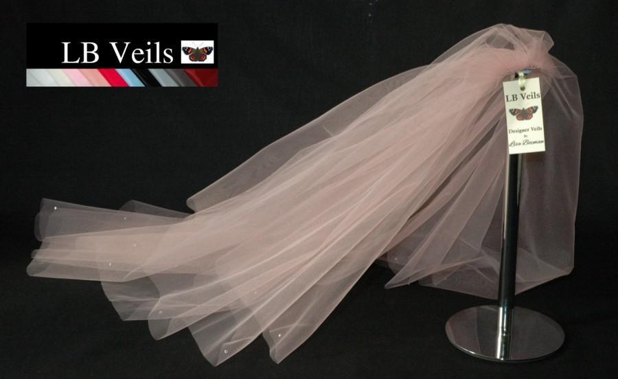 Wedding - Crystal Veil, Blush Pink, 2 Tier, Wedding Veil, Pink Veil, Short, Long, Cathedral, Chapel, Elbow Length, Fingertip Length, LB Veils 151 UK