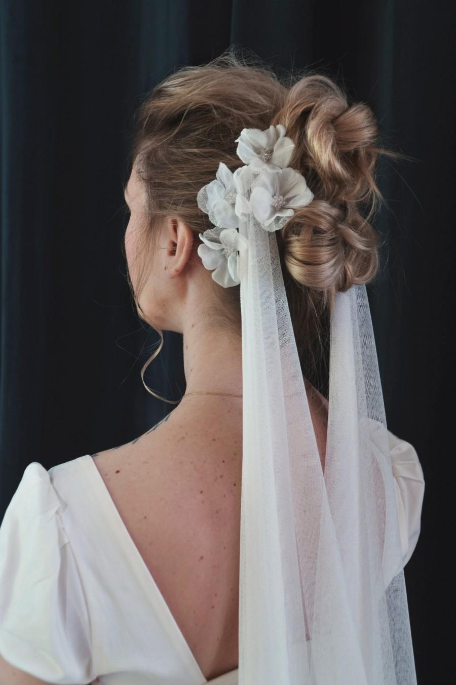 Wedding - Silk Veil, Wedding Veil, Draped Veil, Floral Veil, Bohemian Veil, Bridal Headpiece, Wedding Hairpiece, Natural White Veil, Unique Veil