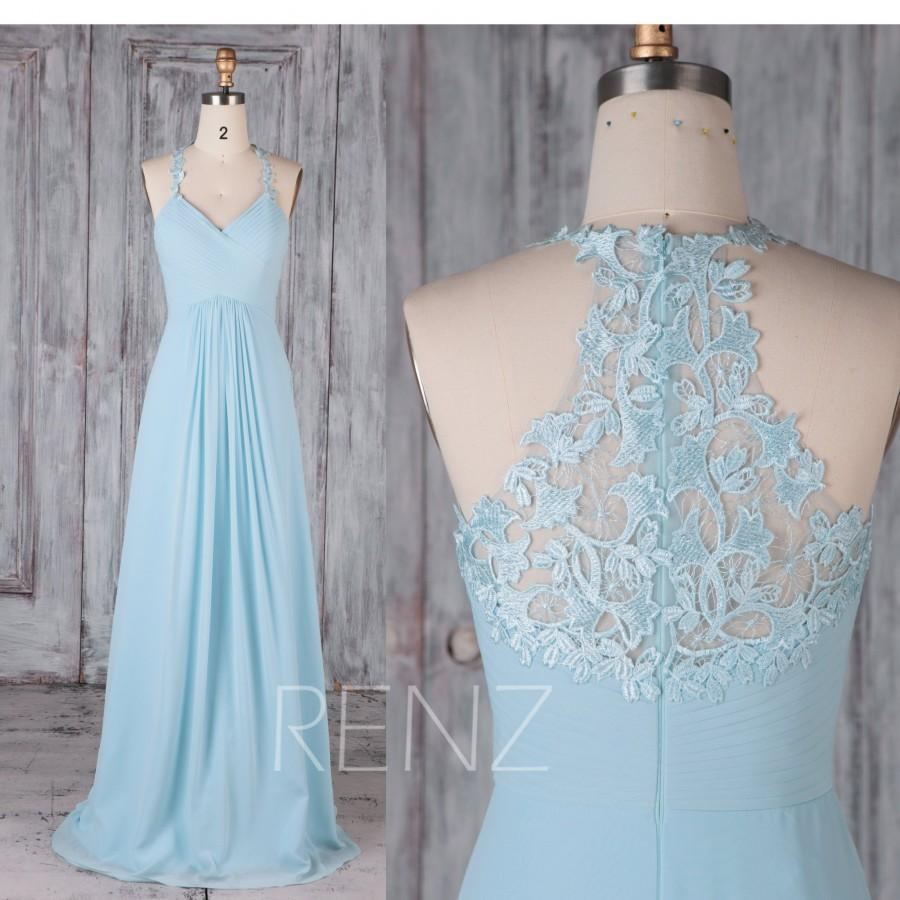 4ba4467cb87b Bridesmaid Dress Light Blue Chiffon Dress,Wedding Dress,Halter Neck Maxi  Dress,Ruched V Neck A-line Prom Dress,Sleeveless Party Dress(H440B)