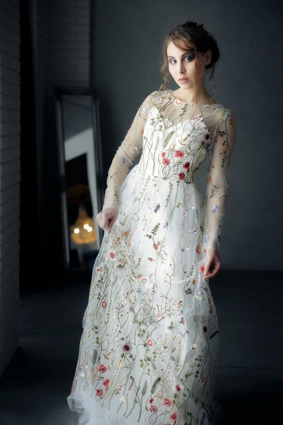Embroidered Wedding Dress.Flower Wedding Dress Wedding Dress With Flowers Wedding