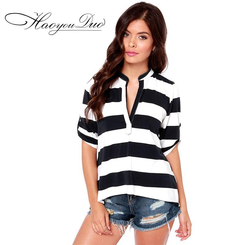 Wedding - Classic Slimming High Neck 1/2 Sleeves Black & White Stripped T-shirt - Bonny YZOZO Boutique Store