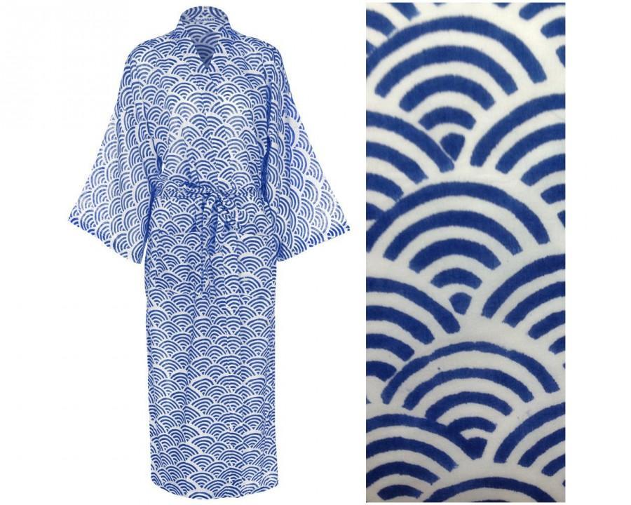 Wedding - Kimono Robe - 100% Organic Light Cotton - Hand Printed Cotton Dressing Gown for Women - Blue Cotton Yukata - All cotton Bathrobe - Long Robe