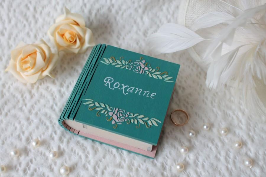 Mariage - Engagement ring box Proposal ring box Personalized box Teal ring bearer book box  Ring bearer pillow Wooden ring box Gift for girlfriend