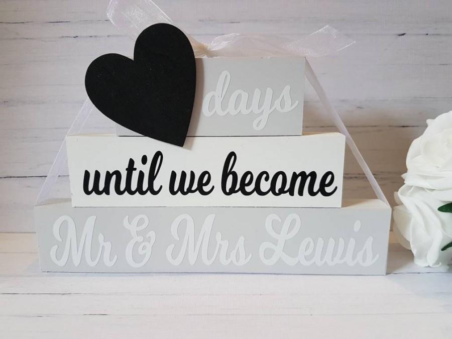 Personalised Wedding Countdown Countdown Blocks En Ement Gift Gift For En Ement Countdown To Wedding Days Until Mr And Mrs