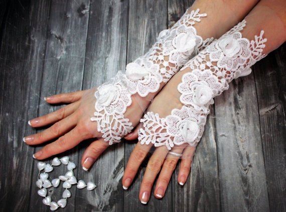 Свадьба - White Wedding Glove Lace Gloves Fingerless Glove Wedding Gown Unique Bridal Glove Wedding Bride Bridal Gloves Gift For Bride