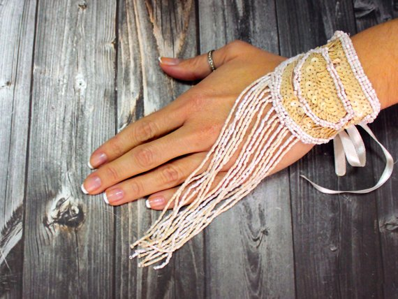 Wedding - Bead embroidery tassel bracelet, statement cuff, belly dance fringe bracelet accessory, elegant anniversary gift, rustic wedding gift