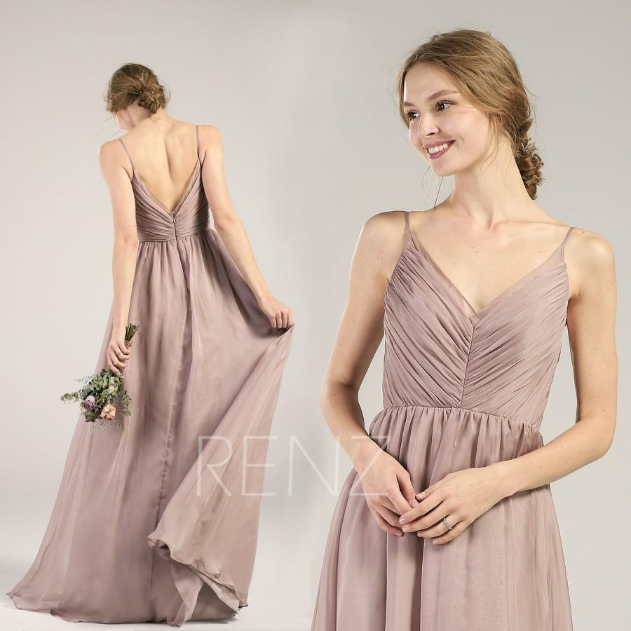 f7f3b9b6b9 Rose Gray Chiffon Bridesmaid Dress Pleated Wedding Dress Spaghetti Strap  Prom Dress Ruched V Neck Maxi Dress Long A-Line Party Dress(H505B)