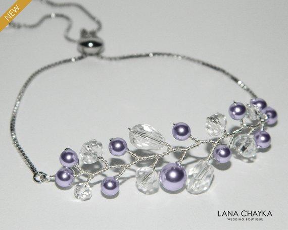Wedding - Lavender Pearl Bridal Bracelet, Swarovski Lavender Pearl Bracelet Lilac Adjustable Bracelet Pearl Slide Bracelet Wedding Lavender Jewelry