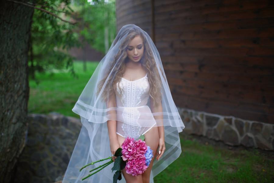 زفاف - Double Horsehair Veil A2, Bridal Veil, Horsehair Drop Veil, Double Ribbon Edge Wedding Veil, Cathedral Veil, Two Tier Veil, Boho Veil