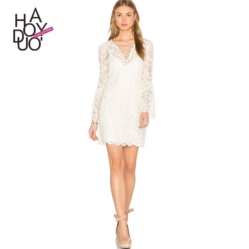 Wedding - Fall 2017 ladies sexy v neck lace lace new two-piece Lantern sleeve dress - Bonny YZOZO Boutique Store