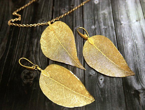 Mariage - Real Aspen Gold Leaf Jewelry Set Real Leaf Pendant Leaves Earrings Dipped Leaves Jewelry Necklace Earrings Set Gift For Her Bridal Gift