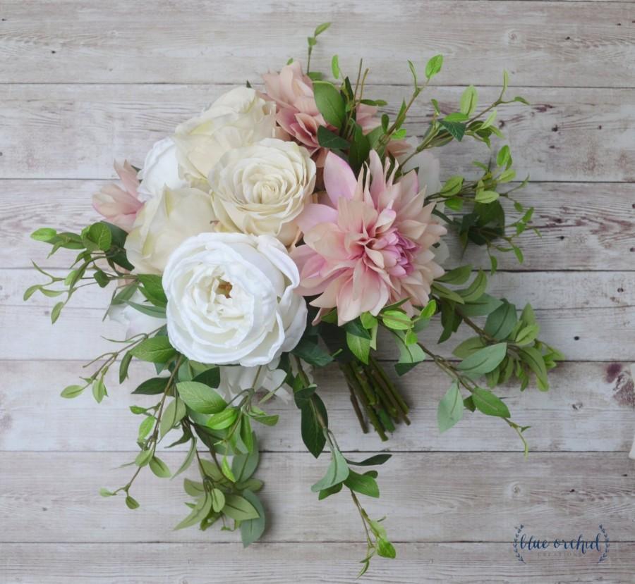 Mariage - silk flower wedding bouquet, wedding bouquet, bridal bouquet, boho bouquet, destination wedding bouquet, blush pink bouquet, ivory bouquet