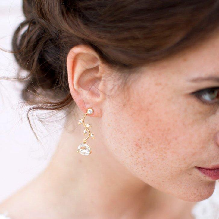Wedding - Rose Gold Cubic Zirconia Bridal Earrings CZ Branch And Cushion Cut Bridal Earrings, Bridal Earrings, Rose gold Earring, French jewelry