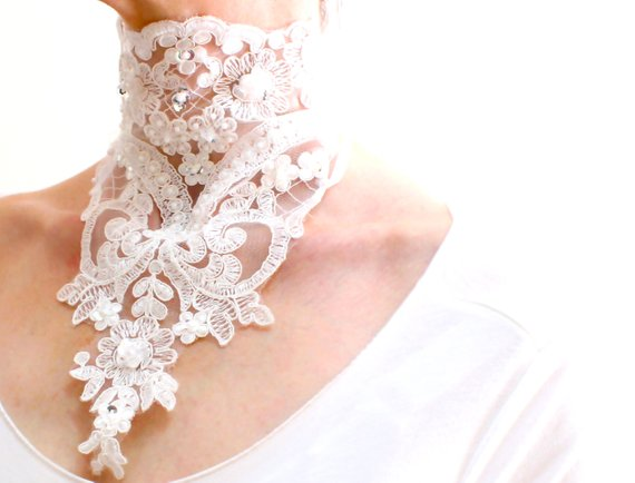 Wedding - White lace choker necklace, high neck collar, bridal gothic neck piece, neck corset, embroided floral lace necklace