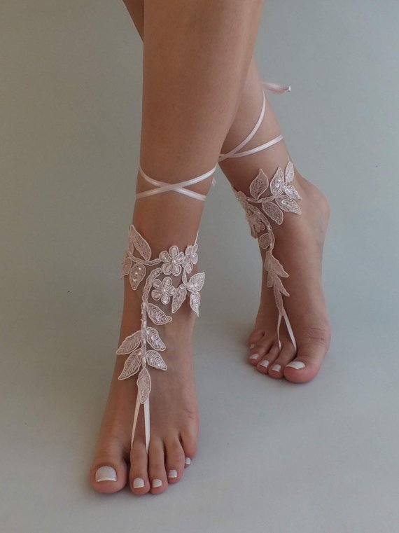 Mariage - Blush Beach Wedding Barefoot Sandals, Bridal Lace Shoes,Bridal Beach Shoes, Wedding Shoes, Bridesmaid Gift wedding sandals, Bridal Anklet