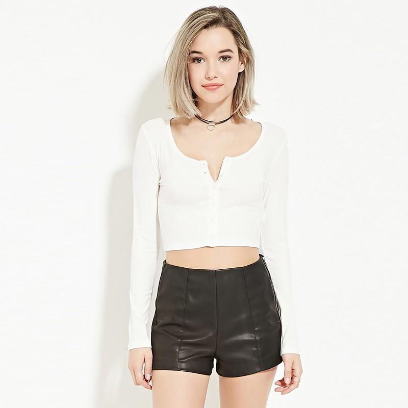 Wedding - Must-have Vogue Sexy Slimming Long Sleeves White Summer T-shirt Crop Top Top - Bonny YZOZO Boutique Store