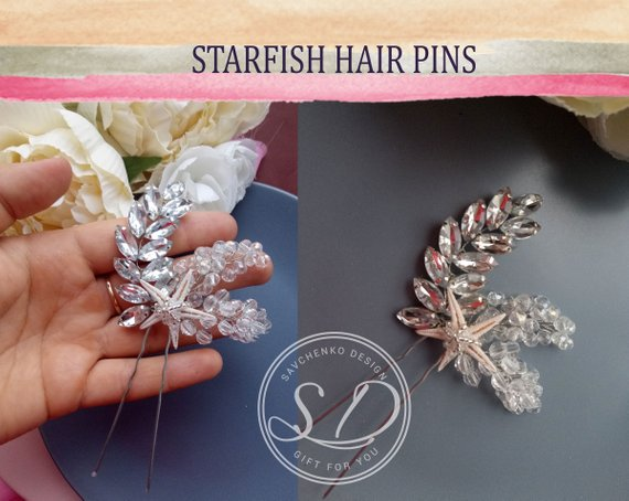 Mariage - Natural Starfish wedding comb Beach Wedding Hair Piece Bridesmaids Gift Starfish hairclip Beach Headband Nautical Wedding seashell headpiece