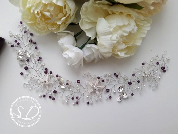 Свадьба - Purple Little Mermaid Hair Vine Seashell Crown Ariel halo Starfish and Pearl Bridal Head Piece beach wedding hair vine Crystal Beads Wire