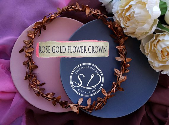 Wedding - Rose gold Hair Twig bridal crown