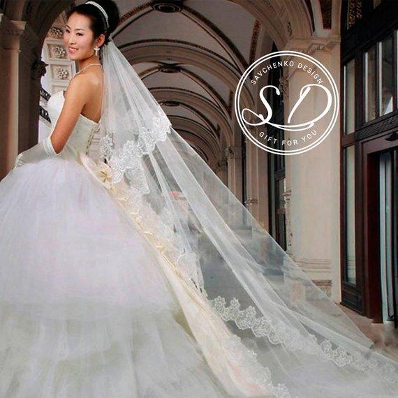 Hochzeit - Cathedral Wedding Veil Drop veil Diamond white Ivory veil Simple Wedding Veil Bridal Long Wedding Veil Plain 1 Tier Single Tier Veil