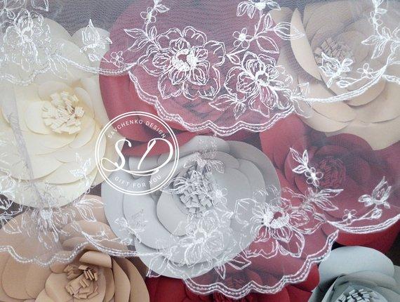 Wedding - Veil with Alencon Lace Trim Trim Bridal Veil kate middleton veil Drop veil Lace Mantilla Elbow length veil White, Light Ivory French Lace