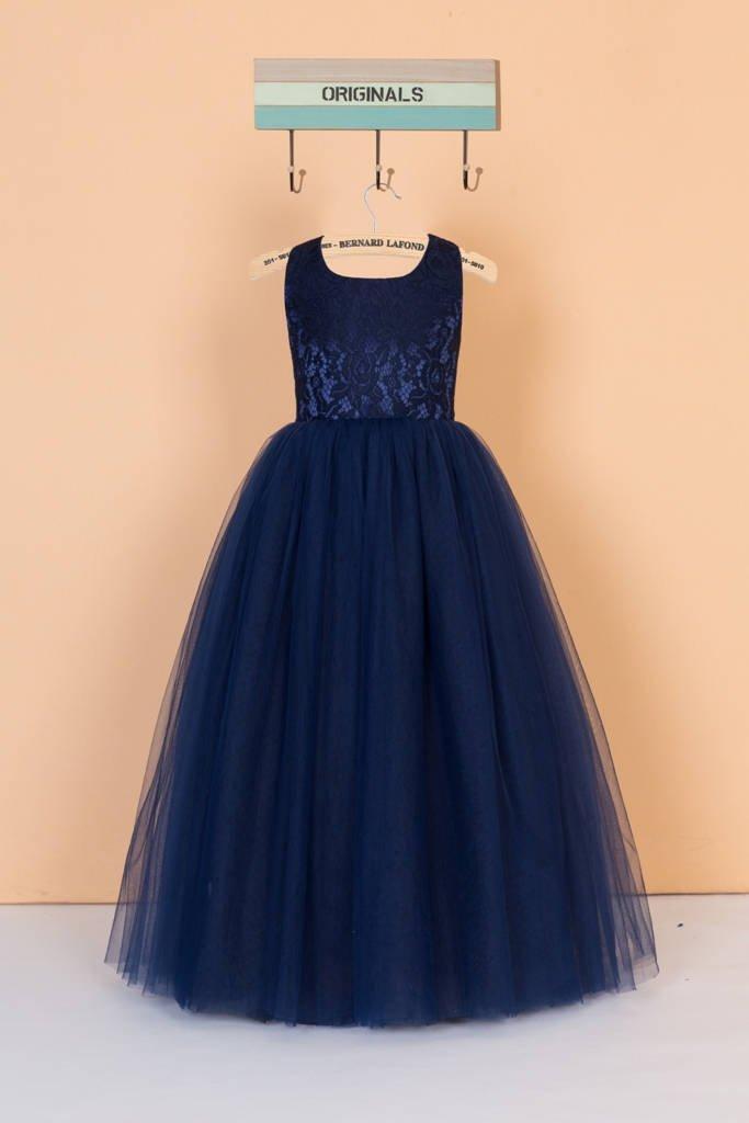 Mariage - Navy blue flower girl dress/lace pageant dress/tulle toddler girl dress/navy junior bridesmaid dress/cross back dress for wedding 0100