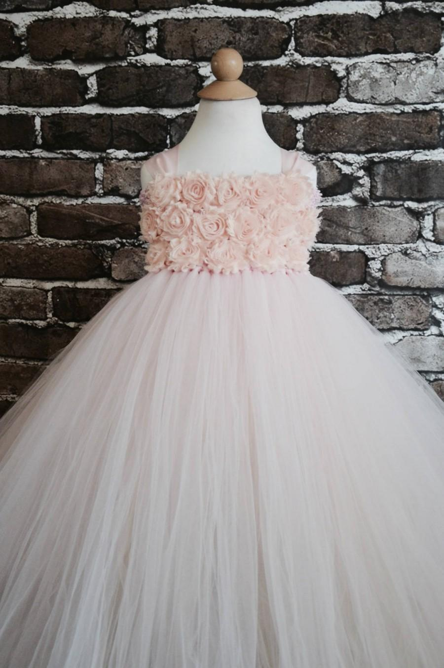 Wedding - Blush shabby chic rose flower girl dress more colors available