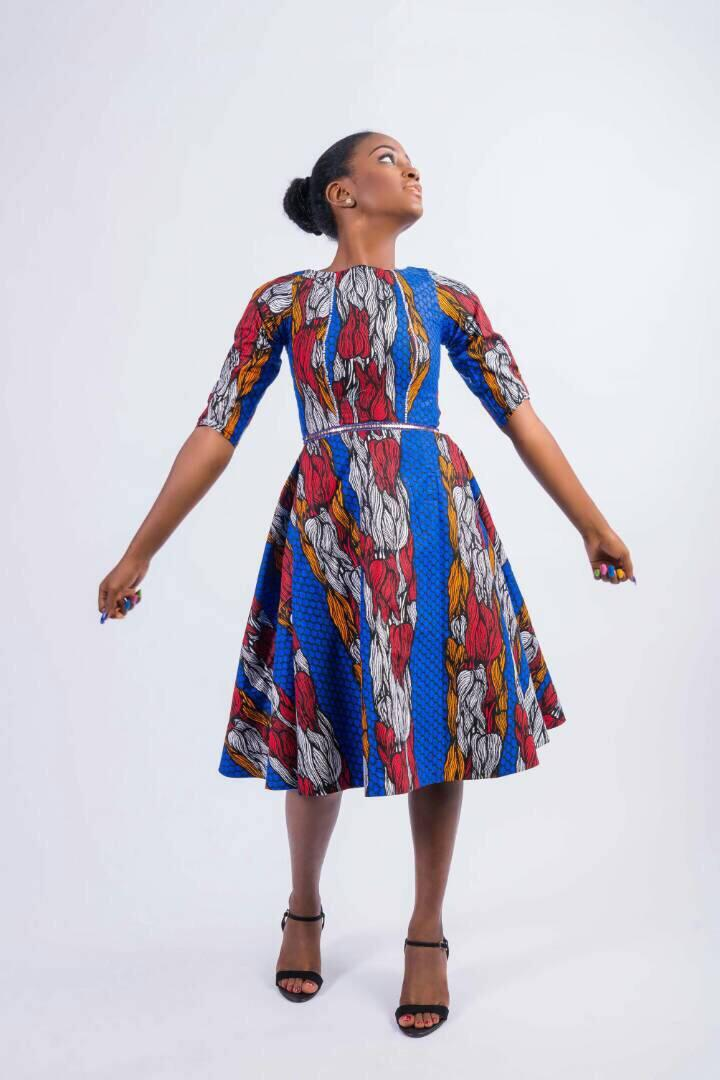 Mariage - Blue Red White A-Line Dress, Swing Dresses,Daviva Print Dress, African wedding dress, African party, midi dress, Ankara dress, Blue Ankara