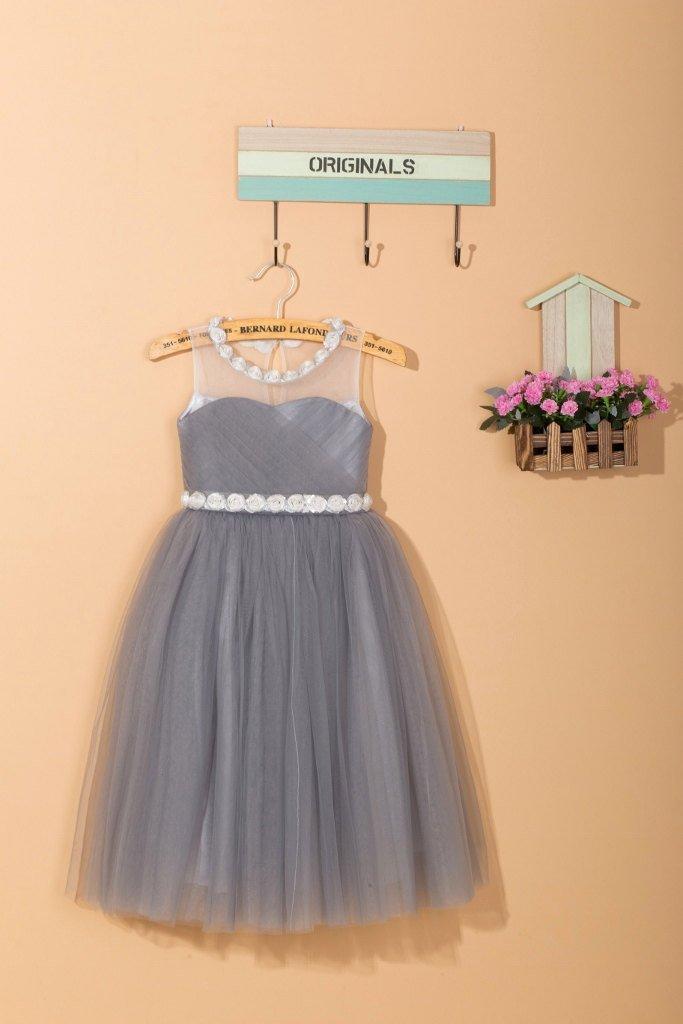 Mariage - Grey flower girl dress/gray tulle toddler girl dress/tulle flower girl dress/junior bridesmaid dress/flower girl dress for wedding 0016