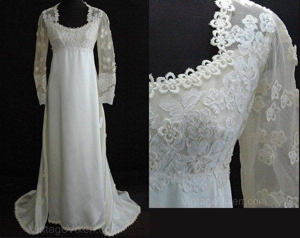 Mariage - Size 6 Wedding Dress - Gorgeous 1960s Empire Satin Bridal Gown with Daisy-Dotted Sleeves & Train - Priscilla of Boston - Bust 33.5 - 23888