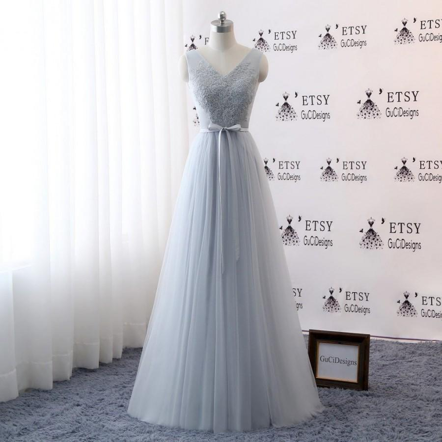 e3c2e2fad17a Bridesmaid Dresses Long,Simple Bridesmaid Dress Tulle with Belt Gray Blue Bridesmaid  Dress V-neck Lace A-line Maxi Evening Prom Party Dress