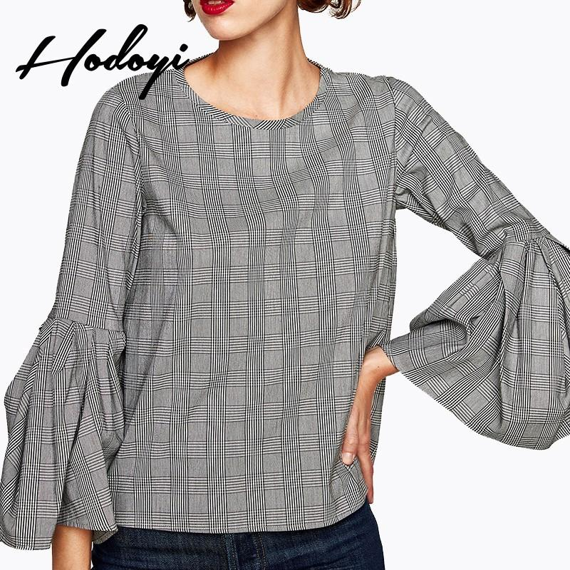 Wedding - Vogue Vintage Ruffle Flare Sleeves Scoop Neck Swallow Gird Fall Blouse - Bonny YZOZO Boutique Store