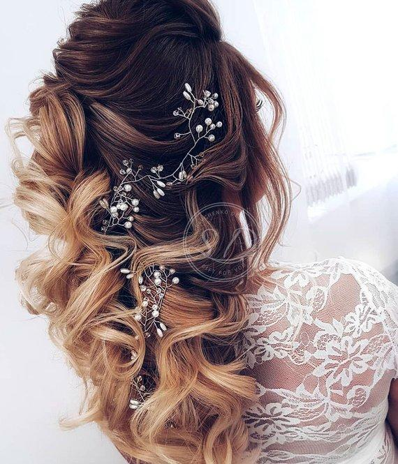 Boho wedding Rose gold bridal hairpiece brass Babys breath hair vine leafs bridal hair clip Bridal hair accessories rose gold headband