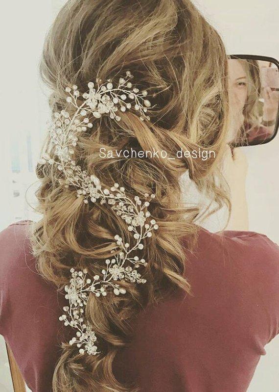 Mariage - bridal rose gold hair vine