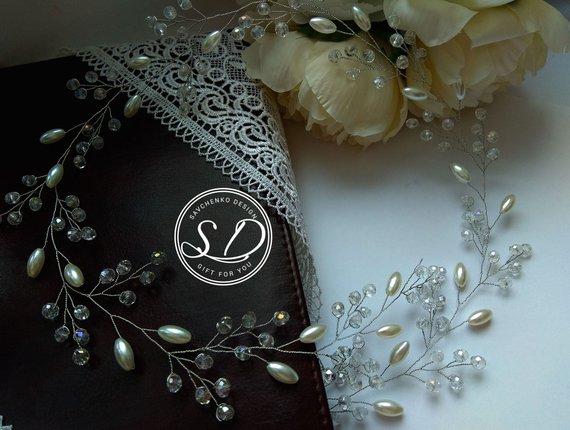 Wedding - Bridal hair vine Crystal pearl wreath Pearl Babys breath hairpiece Beach wedding Bridal headpiece Rose gold hair accessories braut haar rebe