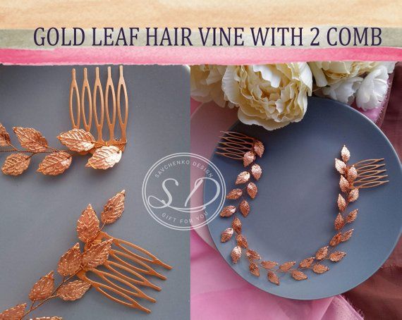 Wedding - Bridal Hair Vine Rose Gold Leaf hair vine Wedding leafs Greek Hair Vine Rose Gold Leaf tiara headpiece Grecian Headpiece Bridal Hair Piece