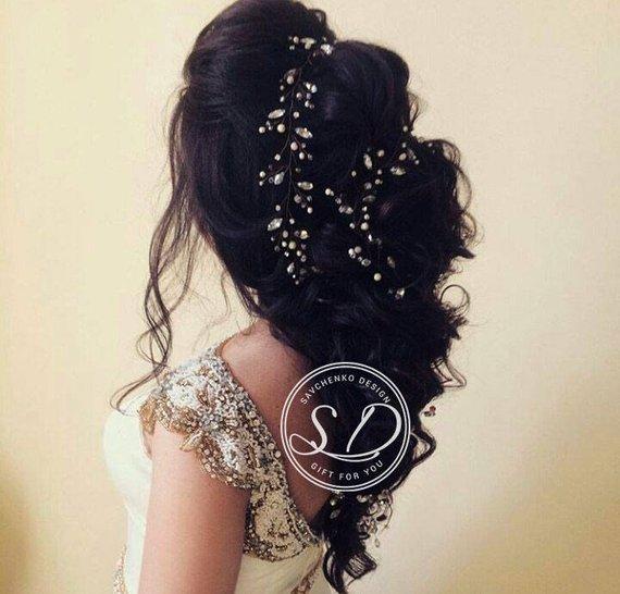 Wedding - Extra long hair vine golden bridal hair vine braut vintage swarovski headpiece winter bronze wedding hair vine headpiece jade haarschmuck