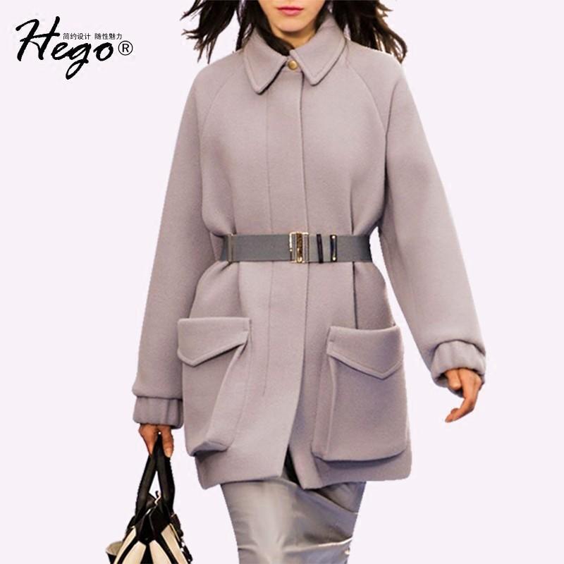 Wedding - Vogue Coccoon Shaped Wool One Color Wool Coat Overcoat Belt - Bonny YZOZO Boutique Store