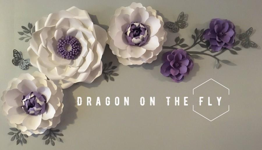 Hochzeit - Large paper flower backdrop/ nursery paper flower wall decor/ nursery decor/ baby girl nursery decor/ Peony, Rose and magnolias