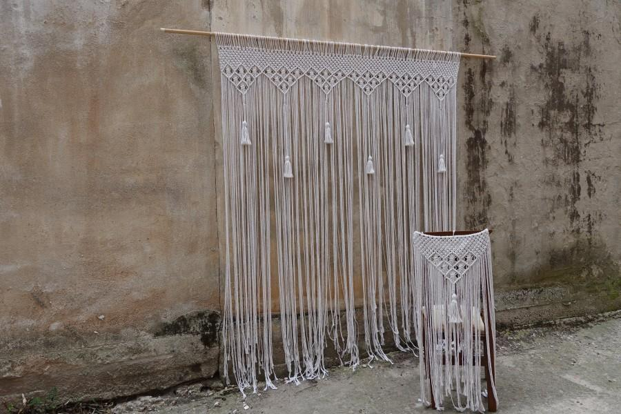 Свадьба - tassel wedding backdrop, Large macrame curtain, wall hanging, boho bedroom decoration
